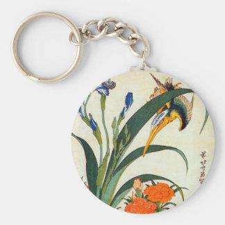 アヤメにカワセミ, iris de 北斎 et martin-pêcheur, Hokusai, Porte-clé Rond