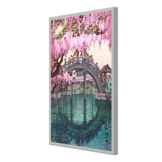 亀戸天神, pont de Kameido, Hiroshi Yoshida, gravure Toiles