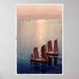 光る海, mer éclatante, Hiroshi Yoshida, gravure sur Poster