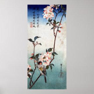 八重桜に鳥, fleurs de cerisier de 広重 et oiseau, posters