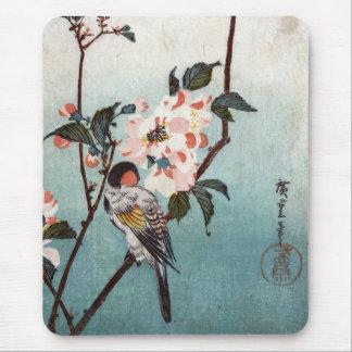 八重桜に鳥, fleurs de cerisier de 広重 et oiseau, tapis de souris