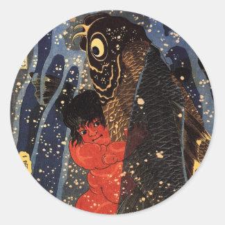 坂田金時と巨鯉, 国芳, Sakata Kintoki et carpe énorme, Sticker Rond