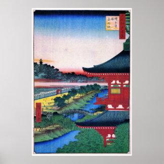 増上寺, temple rouge de 広重, Hiroshige, Ukiyo-e Posters