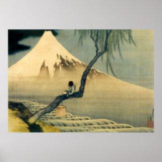 富士と少年, 北斎 le mont Fuji et garçon, Hokusai, Ukiyo-e Posters