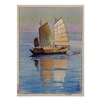 帆船夕日, lueur de soirée de bateaux à voile, Hiroshi Posters