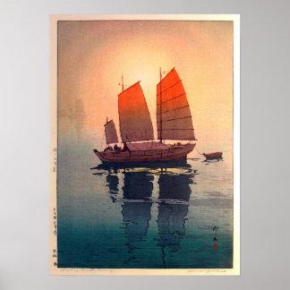 帆船朝, bateaux à voile matin, Hiroshi Yoshida Poster
