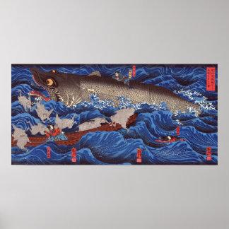 怪物鮫, requin de monstre de 国芳, Kuniyoshi, Ukiyo-e Posters