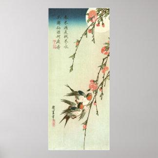 桃の花に燕, fleur de pêche de 広重 et hirondelle, affiche