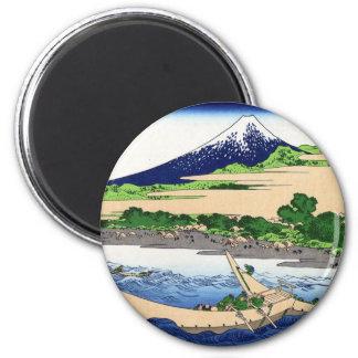 江尻田子の浦, vue le mont Fuji de 北斎 de Tagonoura, Hokus Magnet Rond 8 Cm