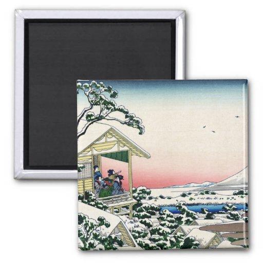 礫川雪の旦, vue le mont Fuji de 北斎 de Koishikawa, Hokus Aimant Pour Réfrigérateur
