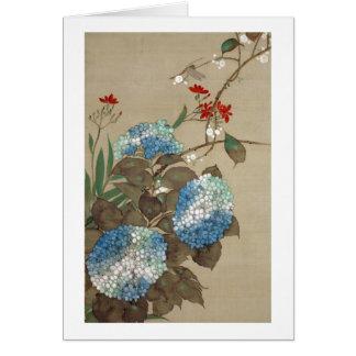 紫陽花, hortensia de 抱一, Hōitsu Carte De Vœux