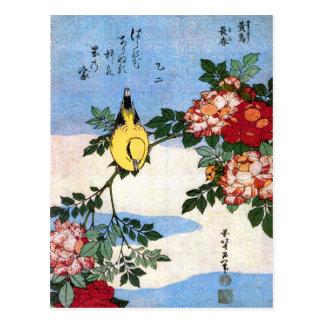 葛飾北斎 Hokusai de rossignol de 黄鳥長春 Cartes Postales