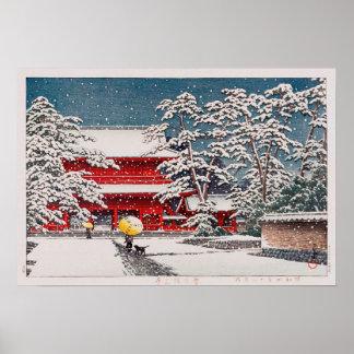 雪の増上寺, temple de Zôjô-JI dans la neige, Hasui Poster