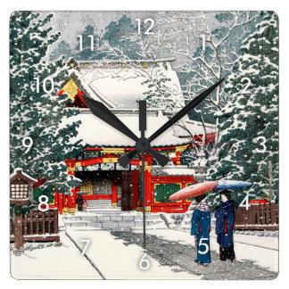 雪の日枝神社, neige au tombeau de Hie, Hasui Kawase, Horloge Carrée