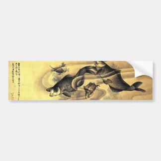 鯉と亀, carpes de 北斎 et tortues, Hokusai, Ukiyoe Autocollant De Voiture