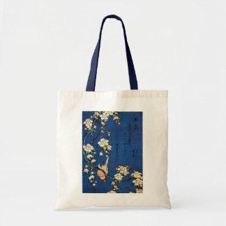 鳥と枝垂桜, oiseau de 北斎 et cerisier pleurant, Hokusai Sac En Toile