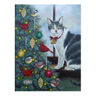 0417 chat et carte postale d'arbre de Noël