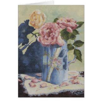 0476 roses anglais dans la carte d'anniversaire