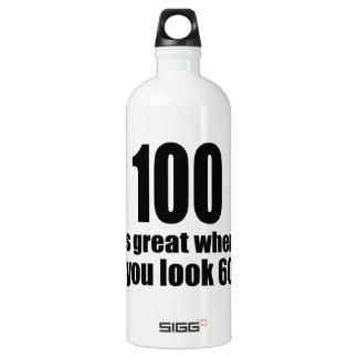100 est grand quand vous regardez l'anniversaire bouteille d'eau en aluminium