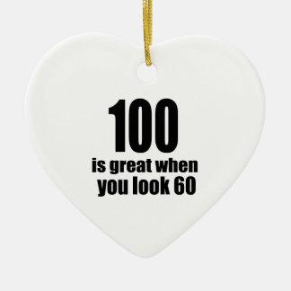 100 est grand quand vous regardez l'anniversaire ornement cœur en céramique