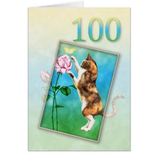 100th Anniversaire avec un chat espiègle Carte De Vœux