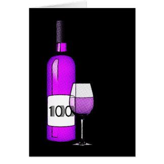 100th anniversaire : bouteille et verre de vin carte de vœux