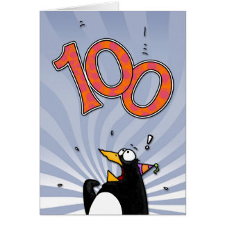 100th anniversaire - carte de surprise de pingouin