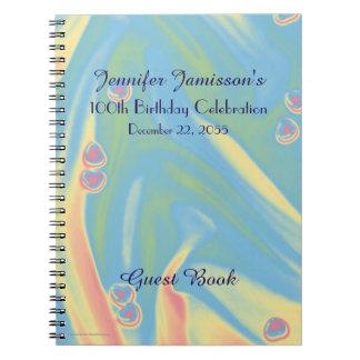 100th Livre d'invité de fête d'anniversaire, bleu