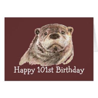101st Humour d'anniversaire avec la loutre Carte De Vœux