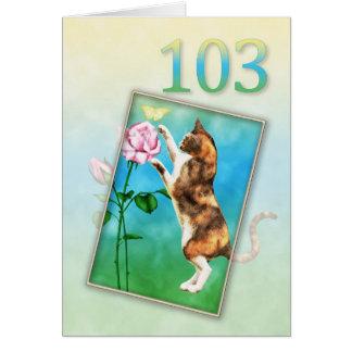 103rd Anniversaire avec un chat espiègle Carte De Vœux