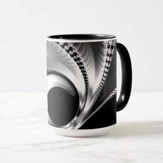 108-44 croissant de lune noir et argenté mugs