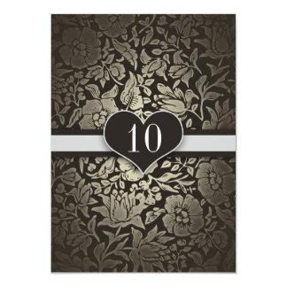 10 ans de mariage d'anniversaire d'invitations de carton d'invitation  12,7 cm x 17,78 cm