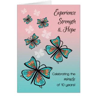 10 ans papillons propres et sobres de décennie cartes