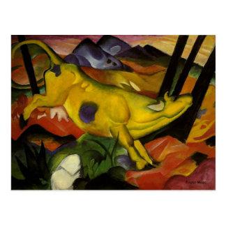 10 octobre vache jaune carte postale