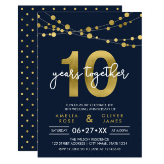 10ème anniversaire de mariage de lumières carton d'invitation  12,7 cm x 17,78 cm