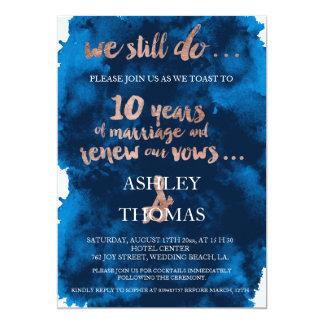 10ème anniversaire d'or de typographie de carton d'invitation  12,7 cm x 17,78 cm