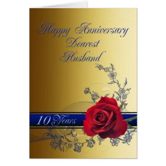 10ème Carte d'anniversaire pour le mari avec un