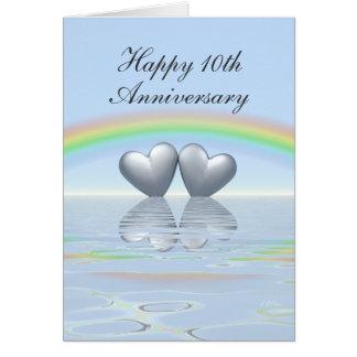 10ème Coeurs de bidon d'anniversaire Cartes