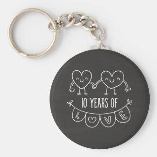 10ème Coeurs de craie de cadeau d'anniversaire Porte-clé Rond