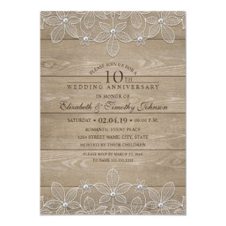 10ème Dentelle vintage en bois rustique Carton D'invitation 12,7 Cm X 17,78 Cm