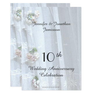10ème Fête d'anniversaire de mariage, dentelle Carton D'invitation 12,7 Cm X 17,78 Cm