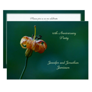10ème Lis de jaune d'invitation de fête Carton D'invitation 12,7 Cm X 17,78 Cm