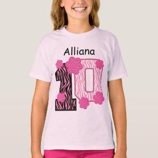10ème Nom fait sur commande V025A2 de zèbre rose T-shirt