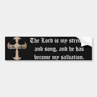 118:14 de psaume - croix de cuivre gravée à autocollant pour voiture
