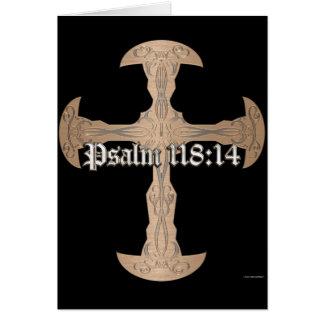 118:14 de psaume - croix de cuivre gravée à cartes