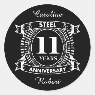 11ème acier d'anniversaire de mariage sticker rond