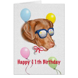 11ème Carte d'anniversaire avec le chien de