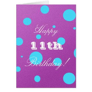 11ème carte d'anniversaire heureuse pour la fille
