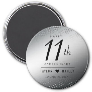 11ème célébration en acier élégante d'anniversaire aimant