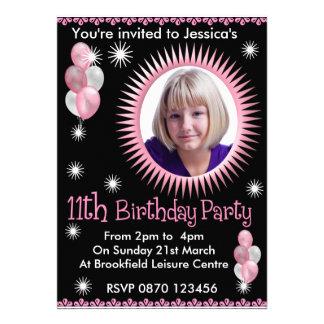 11ème invitation de photo d'anniversaire de filles